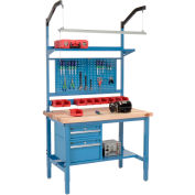 "48""W x 36""D Production Workbench - Maple Butcher Block Square Edge Complete Bench - Blue"
