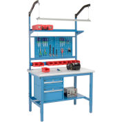 """48""""W X 36""""D Production Workbench - Plastic Laminate Safety Edge Complete Bench - Blue"""