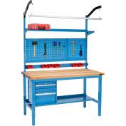 "60""W x 30""D Production Workbench - Birch Butcher Block Square Edge Complete Bench - Blue"