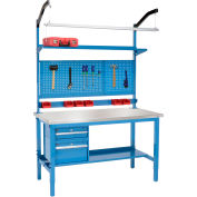 "60"" W X 30"" D Production Workbench - Equerre inox bord complet banc - bleu"