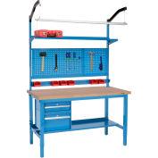 "60""W X 36""D Production Workbench - Shop Top Square Edge Complete Bench - Blue"
