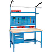 "72""W x 30""D Production Workbench - Maple Butcher Block Safety Edge Complete Bench - Blue"