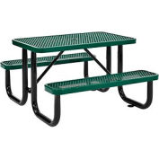 4 ft. Rectangular Outdoor Steel Picnic Table - Expanded Metal - Green