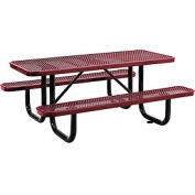"72"" Rectangular Expanded Metal Picnic Table Red"