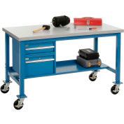 "48""W x 30""D Mobile Workbench - Plastic Laminate Square Edge - Blue"