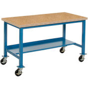 """48""""W x 30""""D Mobile Adjustable Height Benchbench - Shop Top Square Edge - Bleu"""