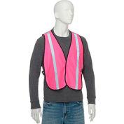 """Global Industrial™ Hi-Vis Safety Vest, 1"""" Reflective Strip, Polyester, Pink, One Size"""
