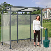 Smoking Shelter S4-4F-CA, 4-Sided W/Left Open Front, 10'L x 10'W