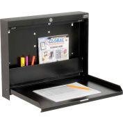 "Folding Wall Mounted Locking Shop Desk, 20""W x 3-3/8""D x 16-3/8""H, Black"