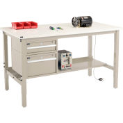 """96""""W x 36""""D Production Workbench - ESD Laminate Square Edge with Drawers - Shelf - Tan"""
