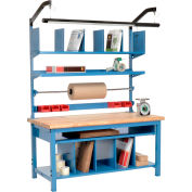 """Global Industrial™ Complete Packing Workbench, Maple Butcher Block Safety Edge, 72""""W x 30""""D"""