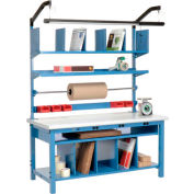 """Global Industrial™ Complete Packing Workbench W/Power Apron, Laminate Safety Edge, 72""""W x 30""""D"""