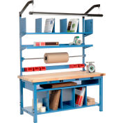 """Global Industrial™ Complete Packing Workbench W/Power, Butcher Block Square Edge, 60""""W x 30""""D"""