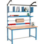 Packaging Workbench Maple Butcher Block Safety Edge - 60 x 30 with Riser Kit