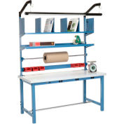 """Global Industrial™ Packing Workbench W/Riser Kit & Power Apron, Laminate Square Edge, 60""""Wx30""""D"""