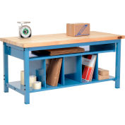 Packing Workbench Maple Butcher Block Square Edge - 60 x 30 with Lower Shelf Kit