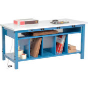 """Global Industrial™ Packing Workbench W/Lower Shelf & Power, ESD Square Edge, 60""""W x 30""""D"""
