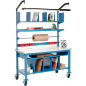 """Global Industrial™ Complete Mobile Packing Workbench, Laminate Square Edge, 72""""W x 30""""D"""