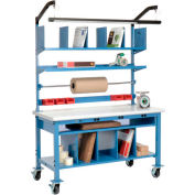 """Global Industrial™ Complete Mobile Packing Workbench W/Power, Laminate Safety Edge, 72""""W x 30""""D"""