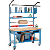 """Global Industrial™ Complete Mobile Packing Workbench W/Power, Maple Safety Edge, 60""""W x 30""""D"""