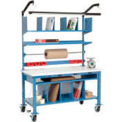 Complete Mobile Electronic Packaging Workbench ESD Square Edge - 72 x 30