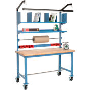 Mobile Packaging Workbench Maple Butcher Block Safety Edge - 60 x 30 with Riser Kit