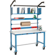 Mobile Electronic Packaging Workbench Plastic Safety Edge - 72 x 30 with Riser Kit