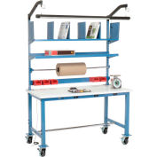 Mobile Electronic Packaging Workbench ESD Square Edge - 60 x 30 with Riser Kit