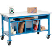 """Global Industrial™ Mobile Packing Workbench W/Lower Shelf Kit, Laminate Safety Edge, 72""""Wx30""""D"""
