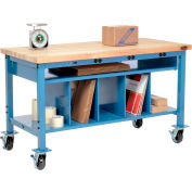 Mobile Packaging Workbench Maple Butcher Block Square Edge - 72 x 30 with Lower Shelf Kit