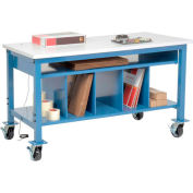 """Global Industrial™ Mobile Packing Workbench W/Lower Shelf Kit, ESD Square Edge, 60""""W x 30""""D"""