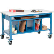 Mobile Packaging Workbench ESD Safety Edge - 60 x 30 with Lower Shelf Kit