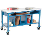 Mobile Electronic Packaging Workbench ESD Square Edge - 60 x 30 w/Lower Shelf Kit