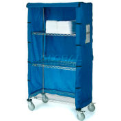 "Nexel® Chrome Wire Linen Cart with Nylon Cover, 4 Shelves, 48""L x 18""W x 80""H"