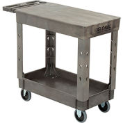 "Industrial Strength Plastic 2 Flat Shelf Service & Utility Cart, 38"" x 17-1/2"", 5"" Rubber Casters"