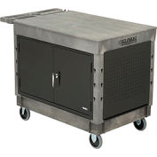 "Industrial Strength Plastic 2 Flat Shelf Maintenance & Utility Cart, 44"" x 25-1/2"", 5"" Rubber Caster"