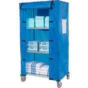 "Nexel® Galvanized Steel Linen Cart with Nylon Cover, 4 Shelves, 36""L x 24""W x 69""H"