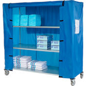 "Nexel® Galvanized Steel Linen Cart with Nylon Cover, 4 Shelves, 60""L x 18""W x 69""H"