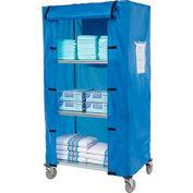 "Nexel® Galvanized Steel Linen Cart with Nylon Cover, 4 Shelves, 36""L x 24""W x 80""H"