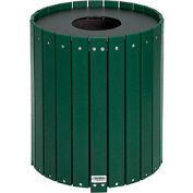Global Industrial™ 32 Gallon Round Recycled Plastic Receptacle W/ Liner, Green