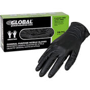 Global Industrial™ Nitrile Gloves, Industrial Grade, Powder Free, Black, 6 MIL, 100/Box, Small