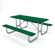 Global Industrial™ 6' Recycled Plastic Rectangular Picnic Table with Galvanized Frame, Green