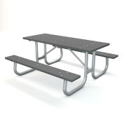 Global Industrial™ 6 ft. Recycled Plastic Rectangular Picnic Table with Galvanized Frame, Gray