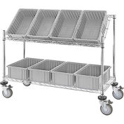 "Easy Access Slant Shelf Chrome Wire Cart with 8 Gray Grid Containers 48""L x 18""W x 48""H"