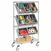 "Easy Access Slant Shelf Chrome Wire Cart with 8 Gray Grid Containers 36""L x 18""W x 63""H"