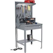 """Shop Desk w/ Pigeonhole Storage - Pegboard w/Shelf 34-1/2""""W x 30""""D x 38 to 42-1/2""""H- Slope Top -Gray"""