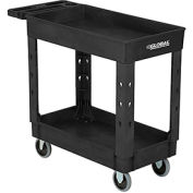 """Industrial Plastic 2 Shelf Tray Black Service & Utility Cart, 38"""" x 17-1/2"""", 5"""" Rubber Casters"""