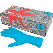 "MCR Safety 6012 Nitri-Med Nitrile Medical/Exam Textured Gloves, Powder-Free, Blue, 12"" L, S, 100/Box"