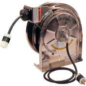 Reelcraft LS 5445 123 3 Stainless Steel Power Cord Reel, 12/3, 15 Amps, 45' Cord w/Single Receptacle
