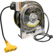 Reelcraft LS 5445 123 9 Stainless Steel Power Cord Reel, 12/3, 15 Amps, 45' Cord w/Triple Outlet